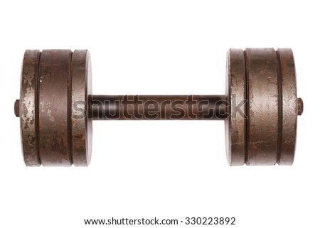 Old rusty dumbbell isolated on white background - stock photo