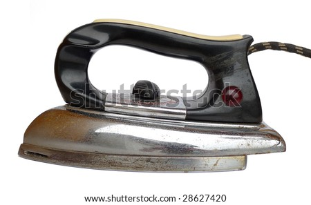 Old rusty electric iron on a white background - stock photo