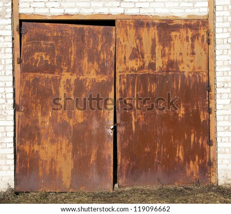 old rusty gate - stock photo