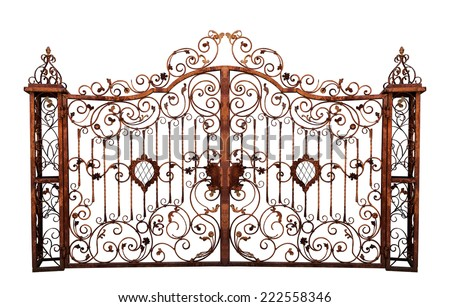 Old rusty gate. Isolated on white background. - stock photo