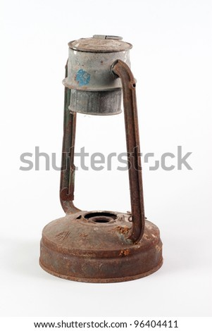 old rusty kerosene lamp - stock photo