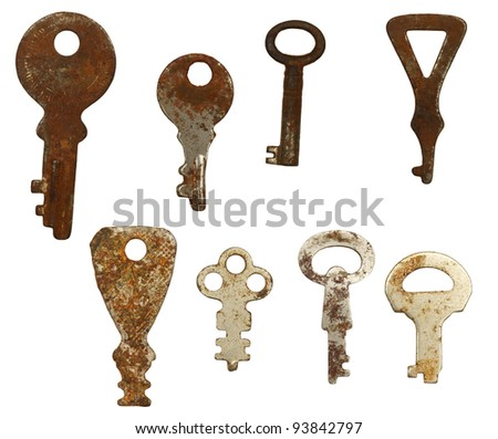 Old rusty keys, isolated against background