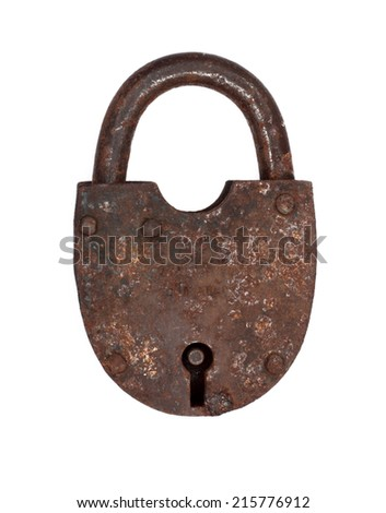 Old rusty lock isolated on white background
