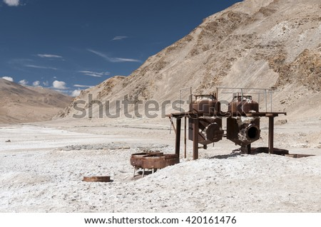 Old rusty machines for processing mineral water, Tsho Kar, ladakh, India