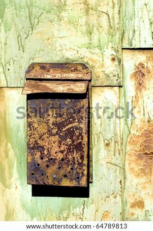 old rusty mailbox - stock photo