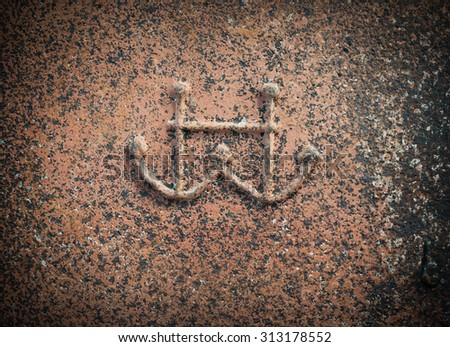 Old rusty metal background texture with anchors. - stock photo