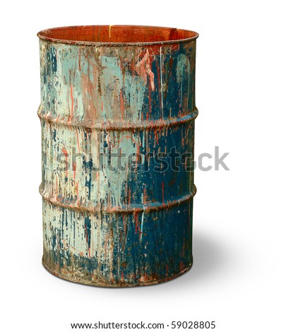 Old rusty metal barrel - stock photo