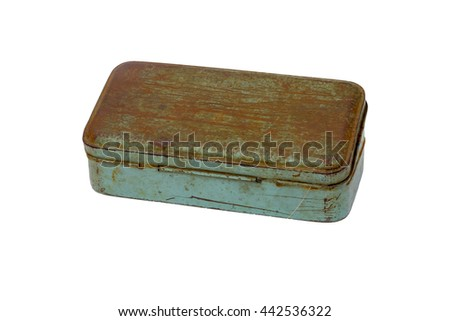 old rusty metal box isolated on white background. this had clipping path - stock photo