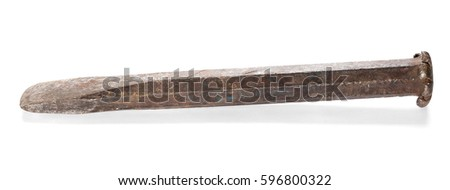 old rusty metal chisel isolated on white background