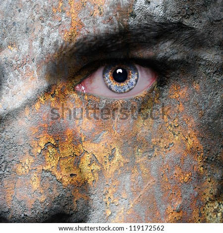 Old rusty metal plate pattern on man face - stock photo