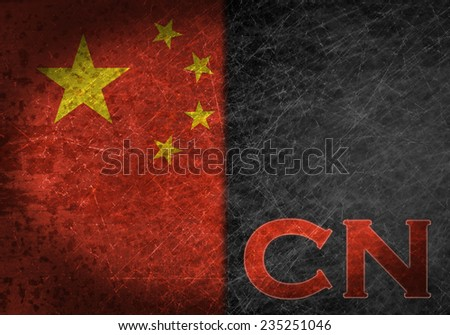 Old rusty metal sign with a flag and country abbreviation - China - stock photo