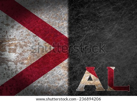 Old rusty metal sign with a flag and state abbreviation - Alabama - stock photo