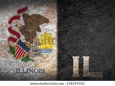 Old rusty metal sign with a flag and US state abbreviation - Illinois - stock photo