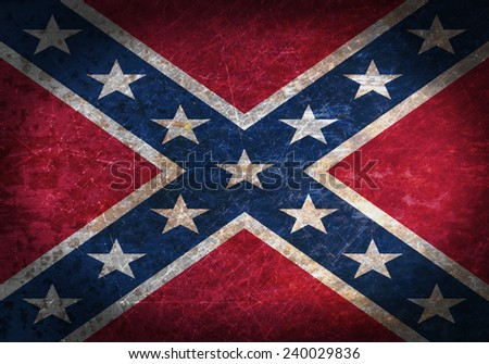 Old rusty metal sign with a flag - Confederate Flag - stock photo