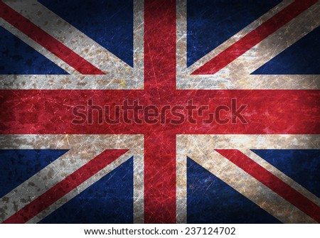 Old rusty metal sign with a flag - United Kingdom - stock photo