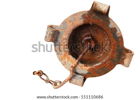 Old rusty metallic cap of jerry can on white background - stock photo