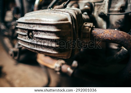 old rusty motor of the motorcycle. closeup  photo - stock photo