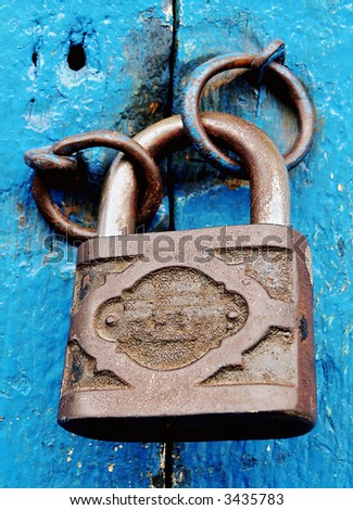old rusty padlock - stock photo