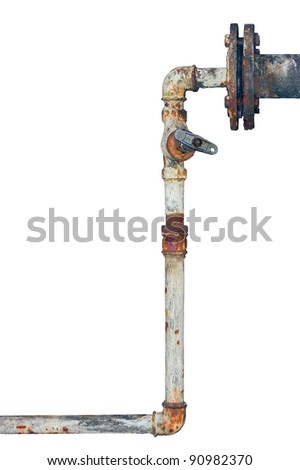 Old rusty pipes, aged weathered isolated grunge iron pipeline and plumbing connection joints with industrial tap fittings, faucets and valve - stock photo
