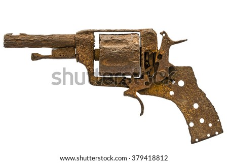 Old rusty pistol, Isolated on white background - stock photo