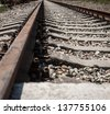 Old rusty railroad way, selective focus. - stock photo