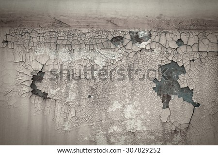 Old rusty scars paint crack metal plate texture background - stock photo