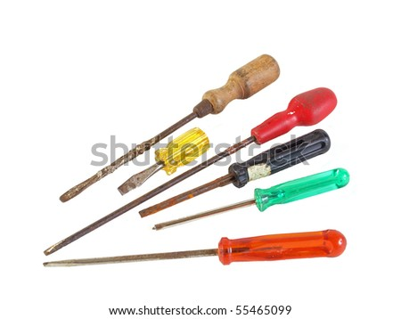 Old, rusty screwdrivers on a plain white background.