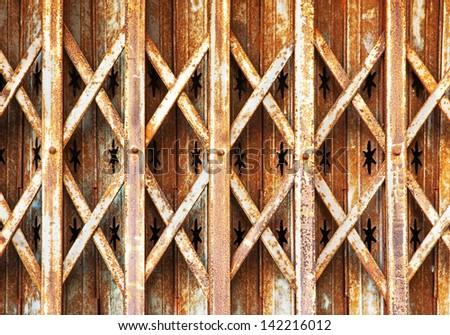 Old rusty sliding door - stock photo