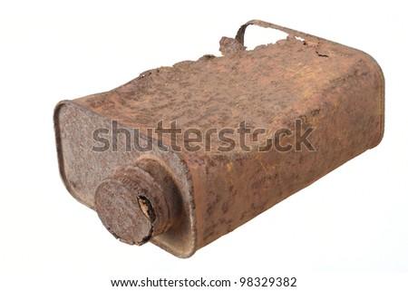 Old rusty tin can - stock photo