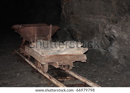 old rusty trolley in a mine