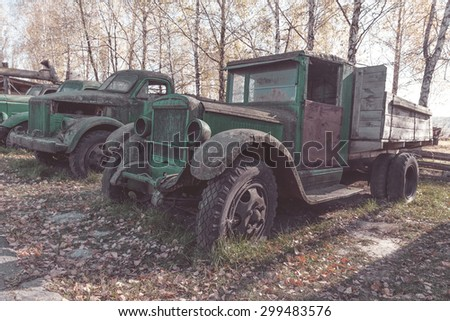 old rusty truck , vintage photo