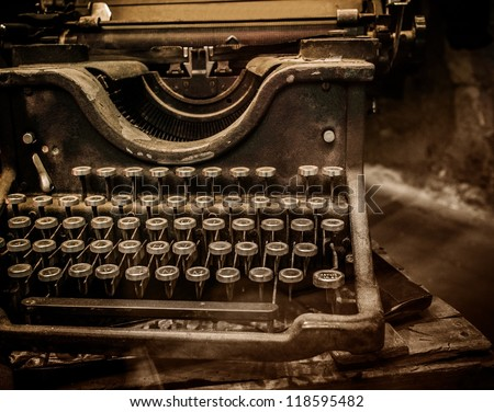 Old rusty typewriter - stock photo