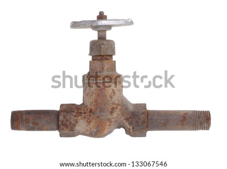 Old rusty water tap - stock photo