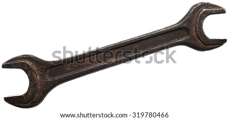 Old rusty wrench isolated on white background