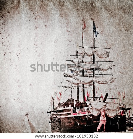old sail ship on grunge paper texture background - stock photo