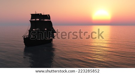 Old sailboat and sunset