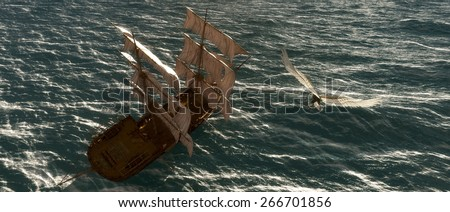 Old sailboat, eagle and sea in 3d - stock photo