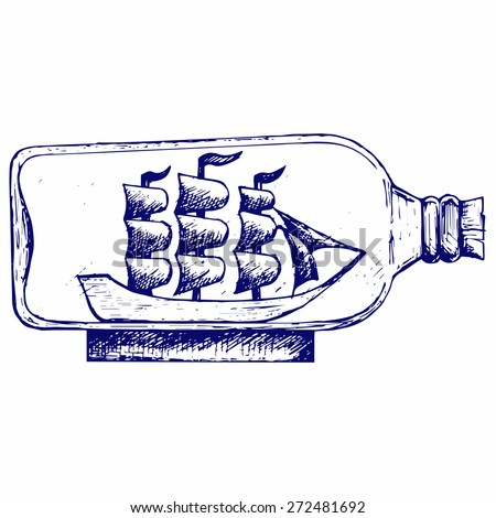 Old sailboat in glass bottle. Doodle style. Raster version - stock photo
