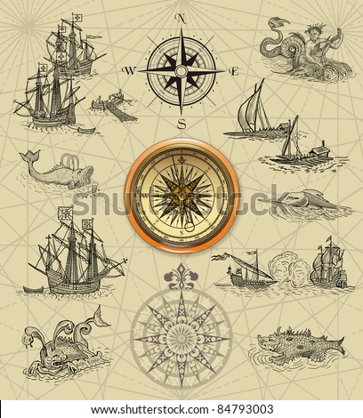 Old sailboats and compass rose