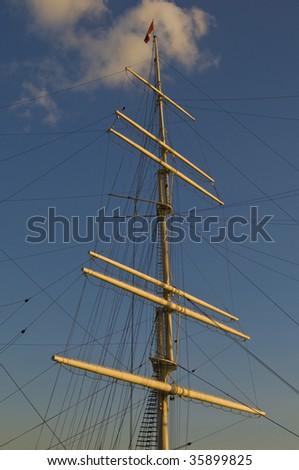 old sailing boat in the harbor of Hamburg - stock photo