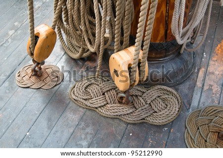 Old sailing ship masts  and rigging - stock photo