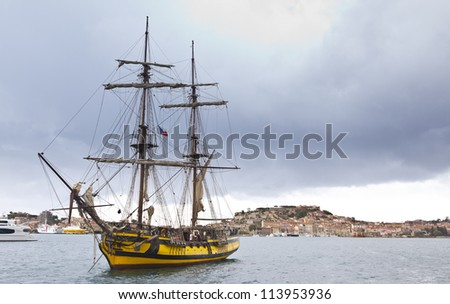 Old sailing vessel in port of Portoferraio, island of Elba, Italy - stock photo