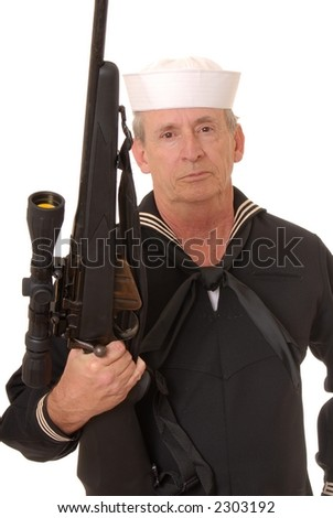 Old sailor from the United States Navy with a sniper rifle - stock photo