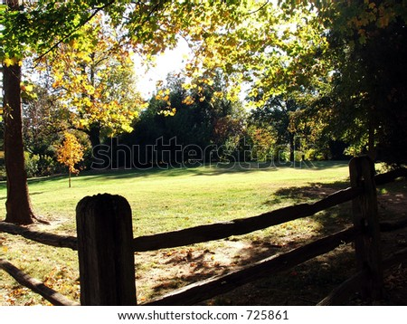 Old Salem Fence in the Fall - stock photo