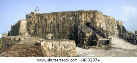 Old San Juan, Fort San Felipe del Morro. 16th century citadel constructed to protect the town from attack by sea. - stock photo