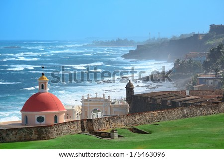 Old San Juan ocean view with buildings - stock photo
