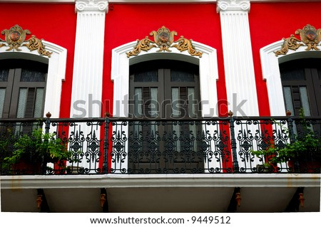 Old San Juan Spanish architecture, San Juan, PR, USA. - stock photo