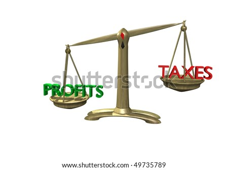 old scale with profits outweighing taxes business concept