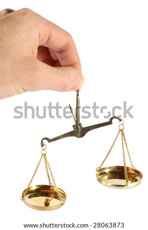 Old scales in a hand on a white background - stock photo