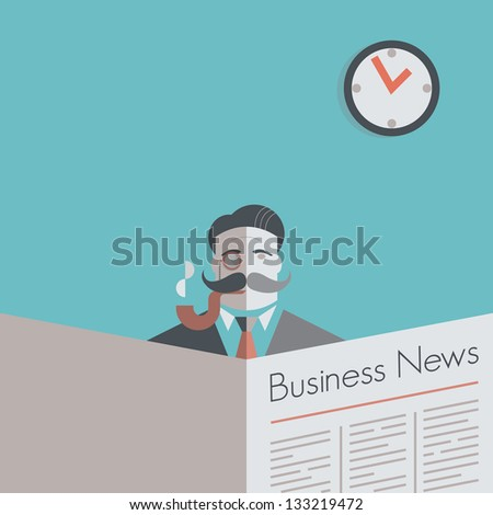 Old school businessman with a monocle and smoking pipe reading Business News newspaper. Vintage style illustration. With copy space for your business text. - stock photo